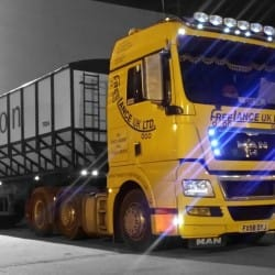 night time haulage truck