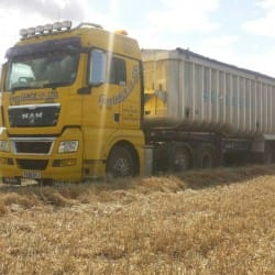 haulage truck in field