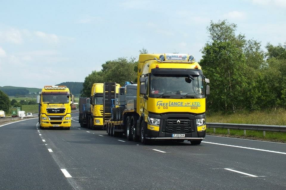 three freelance haulage hire trucks