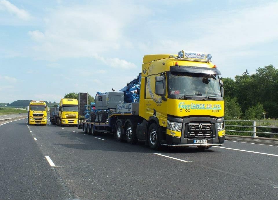 three freelance haulage trucks