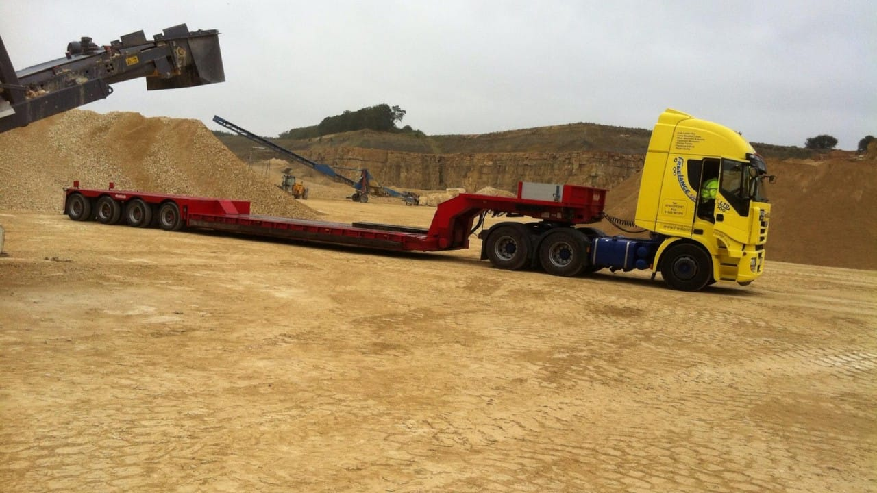 low loader truck onsite